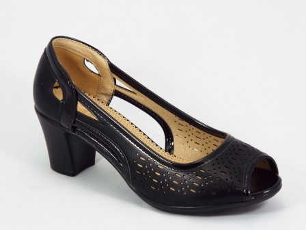 Sandale dama negre perforate toc 6 cm Serra