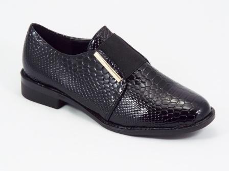 Pantofi dama negri lac croco toc 2,5 cm Qualla