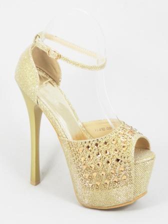 Sandale dama aurii toc 15 cm Festima