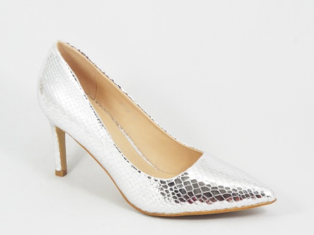 Pantofi dama argintii toc 8 cm Dorina