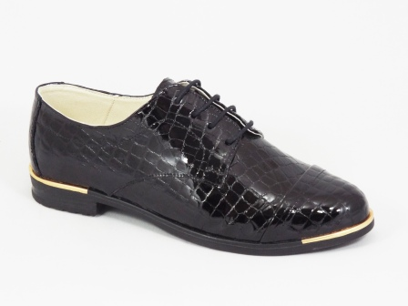 Pantofi dama piele negri cu siret Lemo