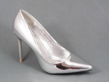 Pantofi dama argintii lac stiletto toc 10 cm Dorina