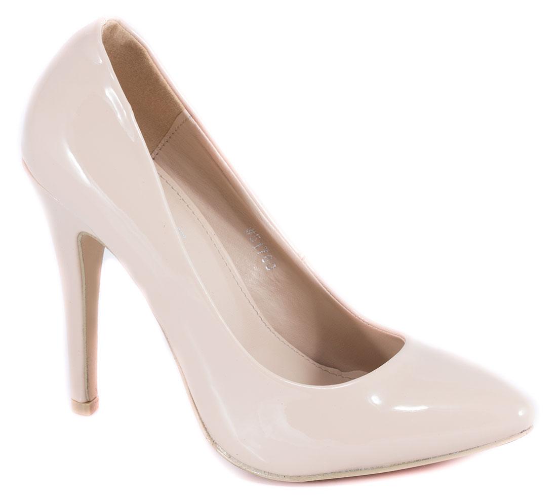 Pantofi dama bej nude lac toc 10 cm Diana