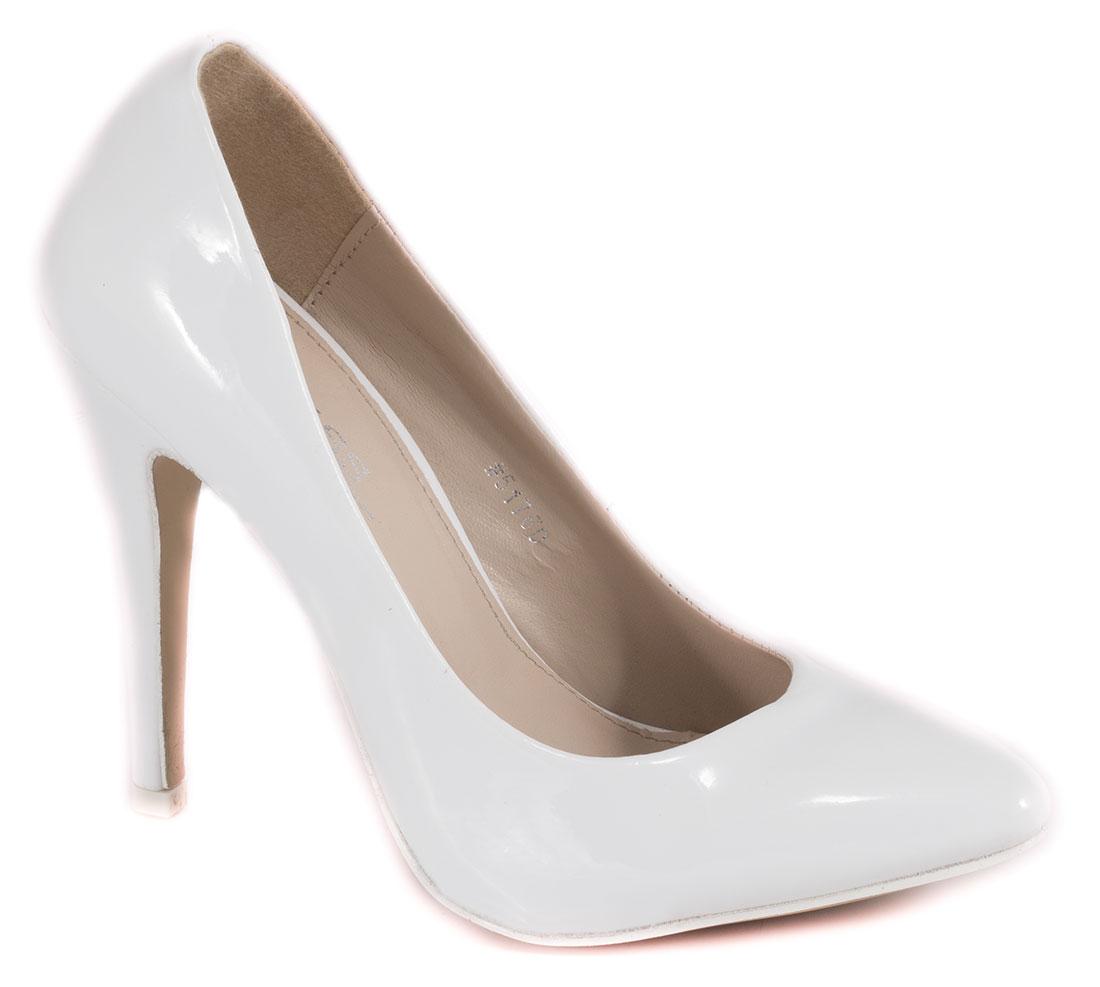 Pantofi dama albi lac toc 10 cm Diana