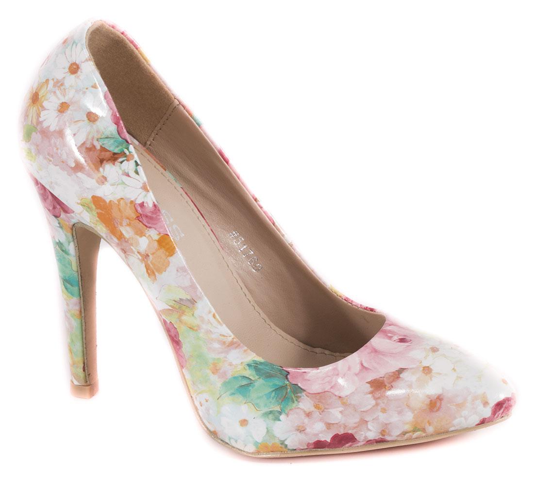 Pantofi dama roz floral lac toc 10 cm Diana