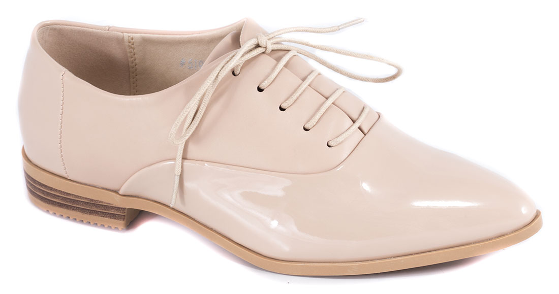 Pantofi dama bej lac toc 2 cm Krina