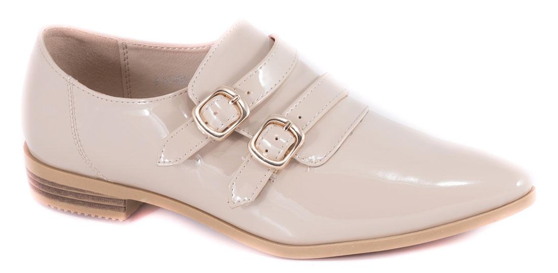 Pantofi dama bej lac toc 2 cm Iryna