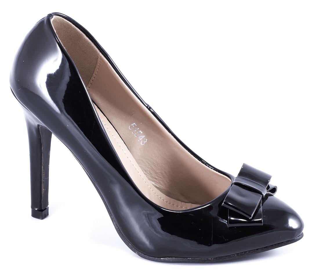 Pantofi dama negri lac stiletto toc 10 cm Sofia