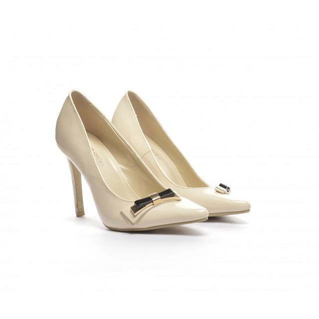 Pantofi dama bej lac stiletto toc 9 cm Doryne