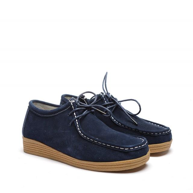 Pantofi dama albastri piele intoarsa Julya