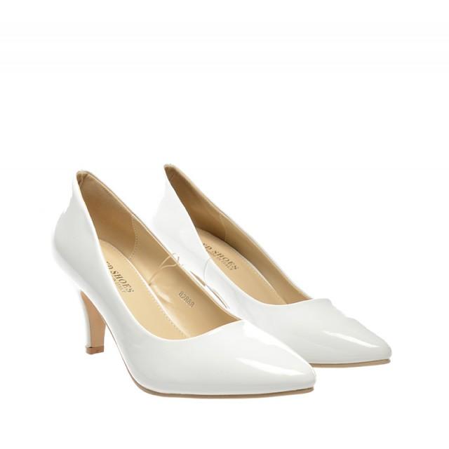Pantofi dama albi lac toc 8 cm Zoryna