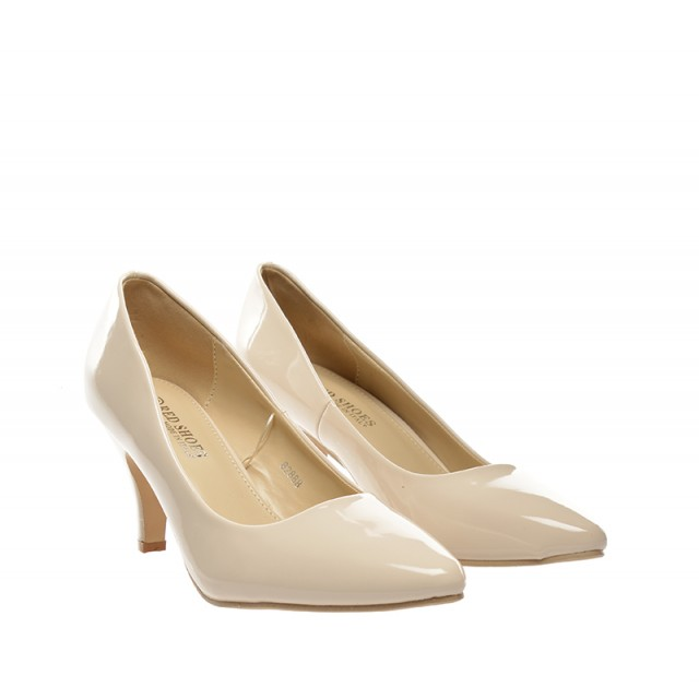 Pantofi dama bej lac toc 8 cm Zoryna