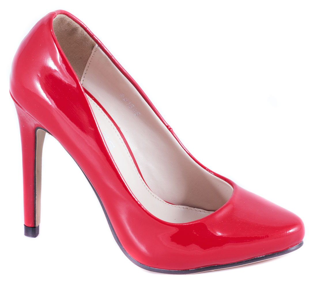 Pantofi dama rosii lac toc 10 cm Ronna