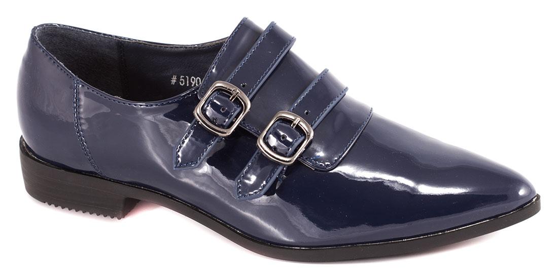 Pantofi dama albastri lac toc 2 cm Iryna