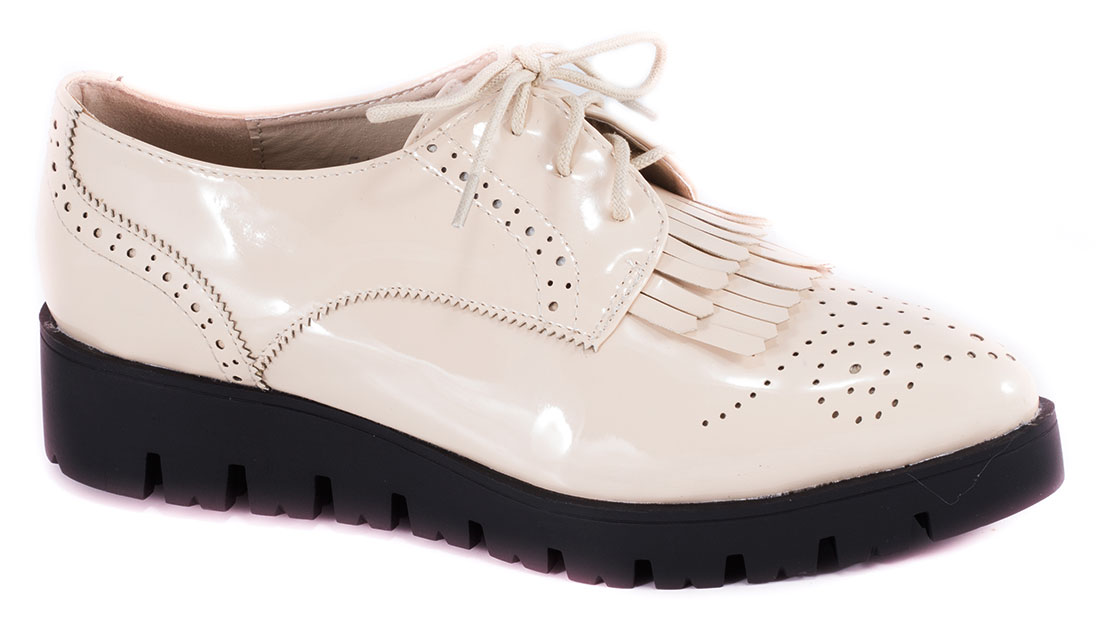 Pantofi dama bej lac toc 3,5 cm Ronnya