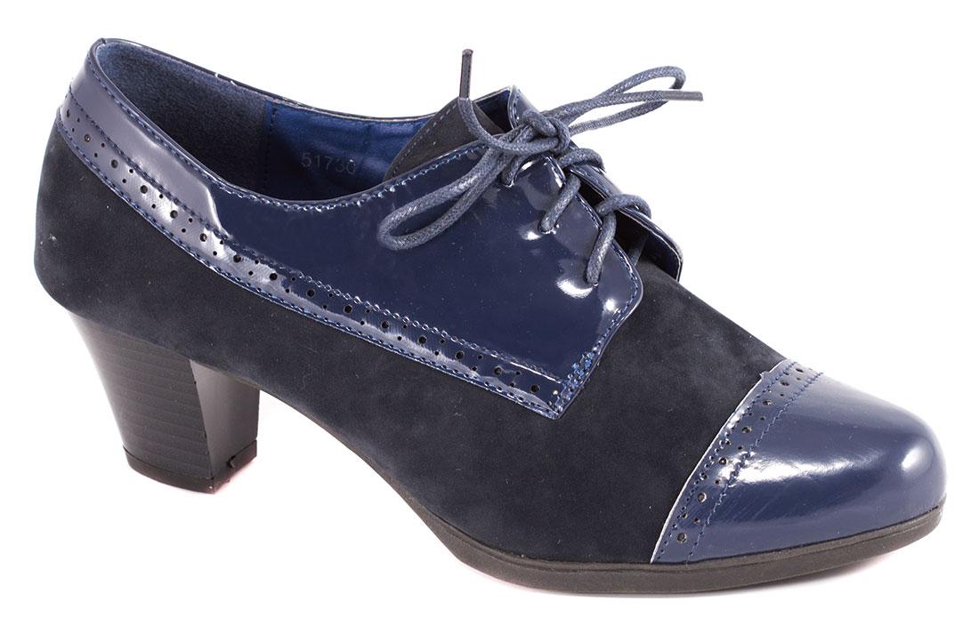 Pantofi dama albastri lac toc 6 cm Laura