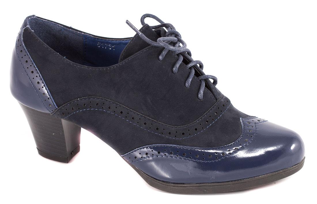 Pantofi dama albastri lac toc 6 cm Lorena