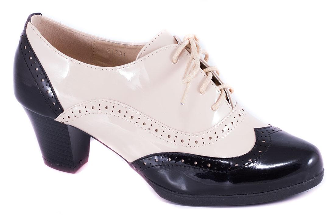 Pantofi dama bej lac toc 6 cm Lorena