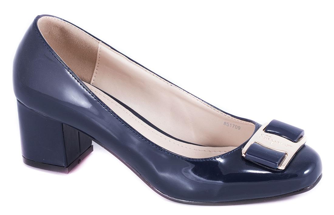 Pantofi dama albastri cu toc 5 cm Lorre