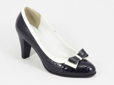 Pantofi dama piele negri croco toc 7 cm Lanna