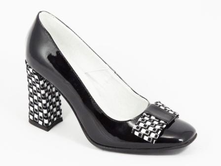 Pantofi dama piele negri lac toc 8 cm Rynna