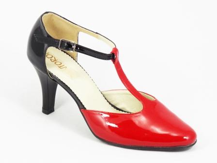 Sandale dama rosii piele lac toc 8 cm Doryna