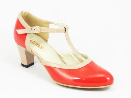 Sandale dama rosii piele lac toc 6 cm Doina