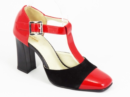 Sandale dama rosii piele lac toc 8 cm Ioana