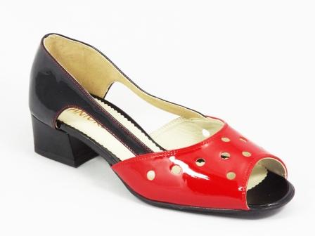 Sandale dama piele rosii cu negru lac toc 3,5 cm Nadyne