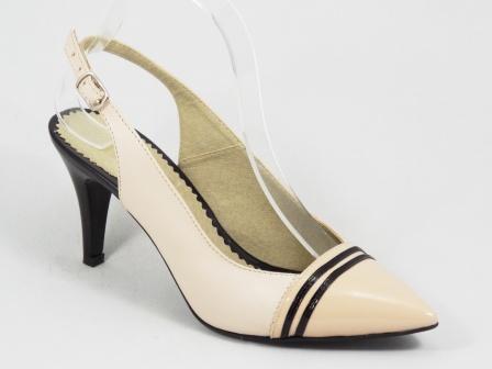Sandale dama bej piele lac toc 8 cm Sorina