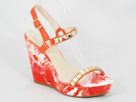 Sandale dama rosii ortopedice lac toc 11,5 cm Ronna
