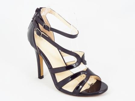 Sandale dama negre lac toc 10,5 cm Letitia