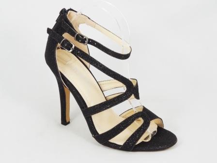 Sandale dama negru metalic toc 10,5 cm Letitia