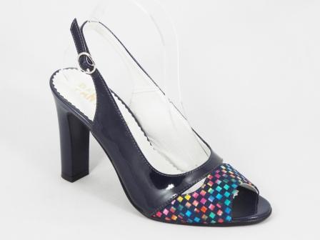 Sandale dama piele albastre lac toc 9 cm Henna