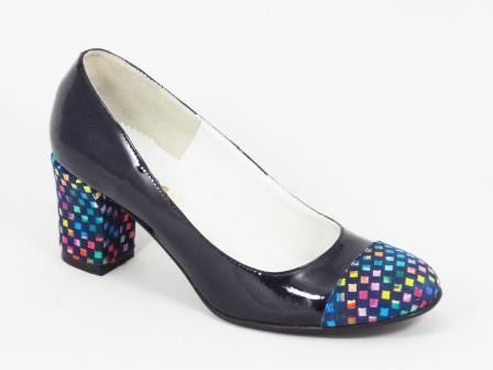 Pantofi dama piele albastri lac toc 6,5 cm Irynna