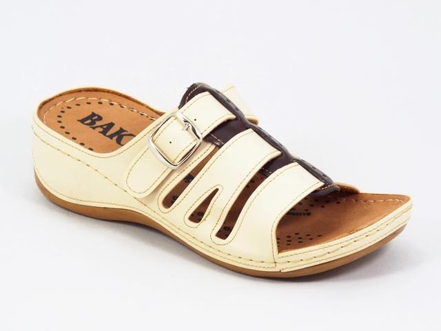 Papuci dama bej cu negru ortopedici toc 5 cm Karyna
