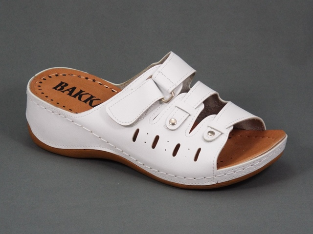 Papuci dama albi ortopedici toc 5 cm Gynna