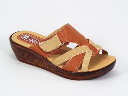 Papuci dama bej cu maro talpa ortopedica Lolla