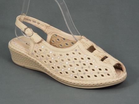 Sandale dama bej perforate toc 3 cm ortopedice Kylia