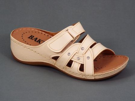 Papuci dama bej ortopedici toc 5 cm Serryne