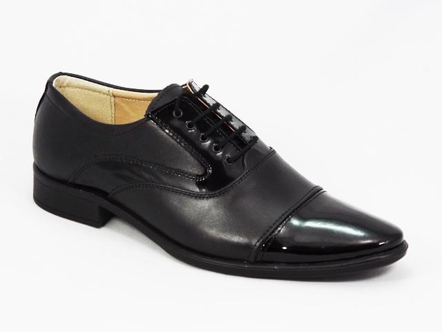 Pantofi barbati negri lac piele Costyn