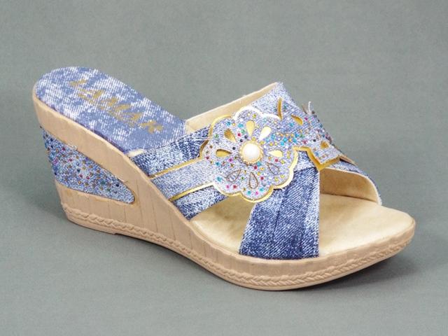 Papuci dama albastri jeans ortopedici toc 7,5 cm Glyte