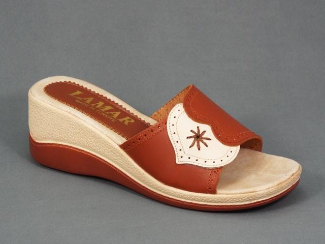 Papuci dama maro cu bej piele ortopedici toc 6 cm Arlette