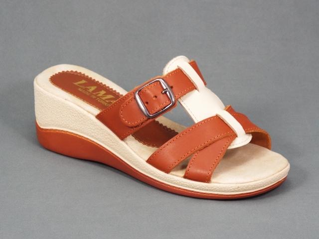 Papuci dama maro piele ortopedici toc 6 cm Arlette