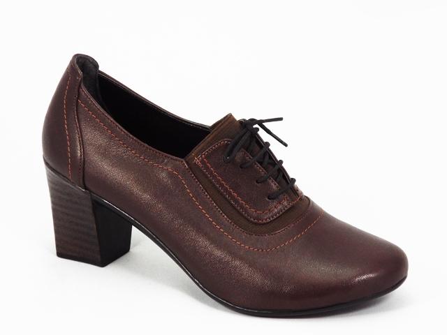 Pantofi dama piele maro toc 5 cm Rytte