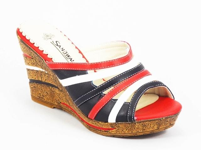 Papuci dama negru rosu alb ortopedici toc 9 cm Feerya