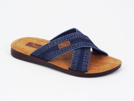 Papuci barbati albastri jeans Kolyo