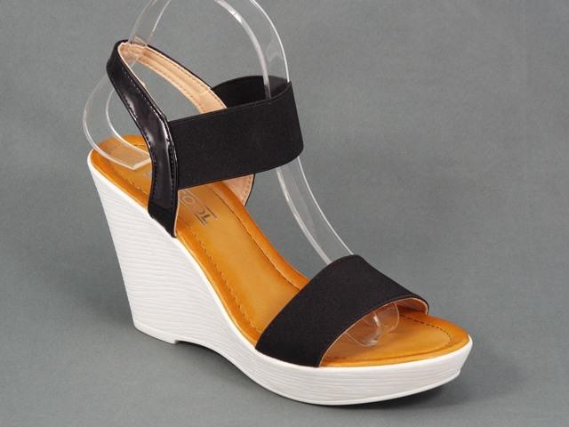 Sandale dama negre ortopedice toc 9,5 cm Doryna