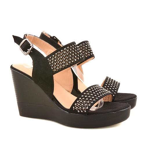 Sandale dama negre ortopedice toc 9,5 cm Irynna