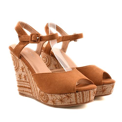 Sandale dama camel ortopedice toc 11,5 cm Lenna